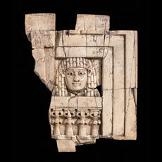 BIBLE WOMEN: DEBORAH: NIMRUD WOMAN AT THE WINDOW IVORY CARVING from the north-west palace of Ashurnasirpal II at Nimrud