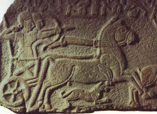 DEBORAH AND JAEL: War Chariot and horsemen. From the Lions' Gate at Malatia, in Anatolia, 9th century BC. Hittite Museum, Ankara.