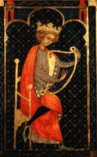 Bible Kings: David. Medieval manuscript showing David playing the lyre; David had the gift of charming people and making them love him