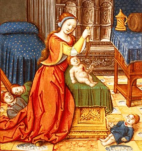 Medieval painting of Athaliah murdering the royal children - her grandchildren