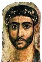 Royal man with gold diadem/crown, from a Fayum coffin portrait