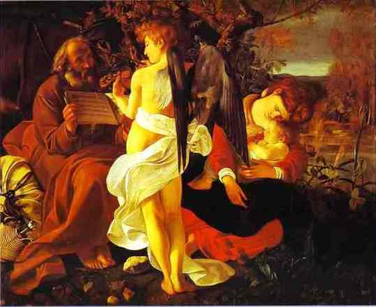Angel paintings: Rest on the flight into Egypt, Caravaggio painting