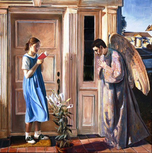Angel paintings: John Collier, painting of the Annunciation with the Angel Gabriel and Mary