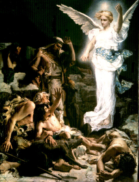 Angel paintings: L'annonce aux bergers, Leon Francois Comerre, 1875