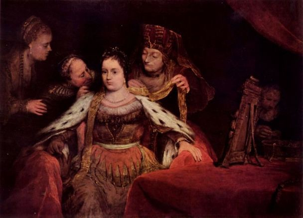 Esther Painting - 'The Jewish Bride', or 'Esther Bedecked', Aert de Gelder, 1684