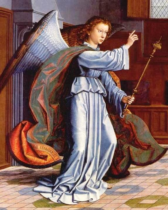 Angel paintings: Famous painting of the Archangel Gabriel from the Cervara Altarpiece, by Gerard David