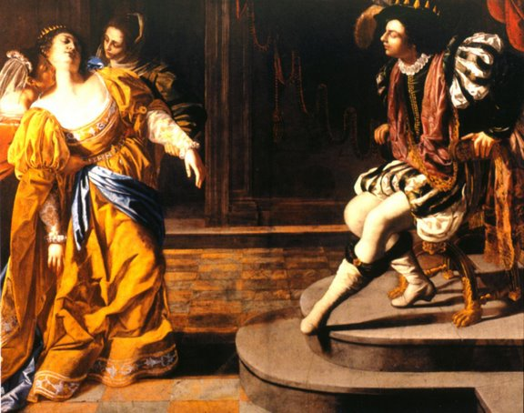 Esther Paintings - Title: 'Esther Before Ahasuerus', Artemisia Gentileschi, 1628-35