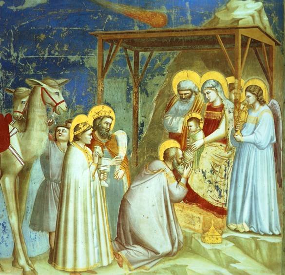 Giotto, the birth of Jesus and the visit of the Magi or Wise Men