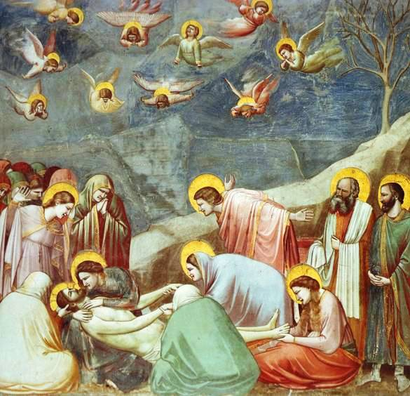 Angel paintings: Giotto, Burial of Jesus, Deposition