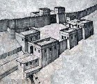 Reconstruction sketch of the entrance gateways and towers of the Megiddo fortress