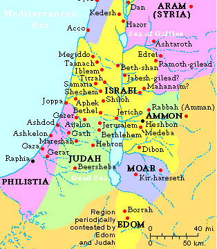 Map of ancient Israel showing Moab and Ammon