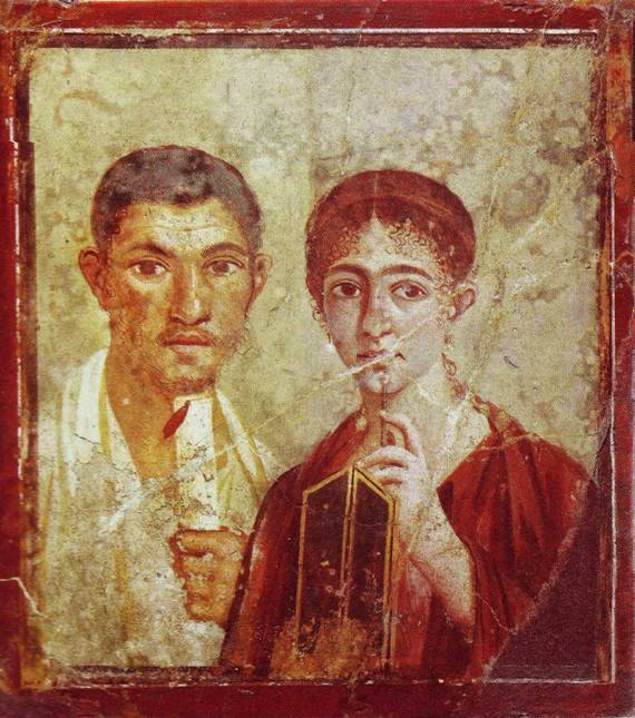 A real Roman couple: Terentius Neo of Pompeii, who lived just a few years later than Pontius Pilate and his wife