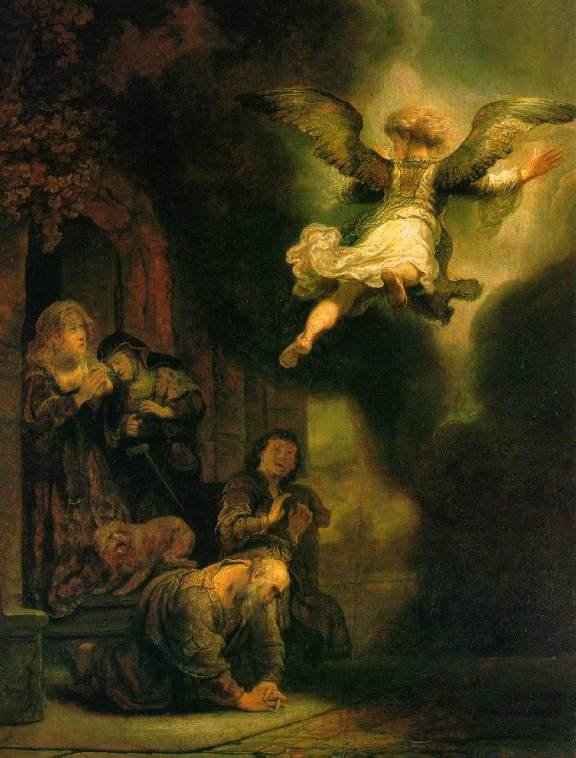 Angel paintings: The Archangel leaving the family of Tobias, Rembrandt van Rijn