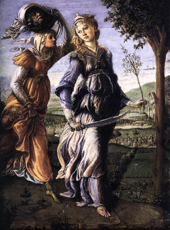 Paintings of the Bible heroine Judith. Alessandro Botticelli, Judith's Return to Bethulia: Bible Art, Judith