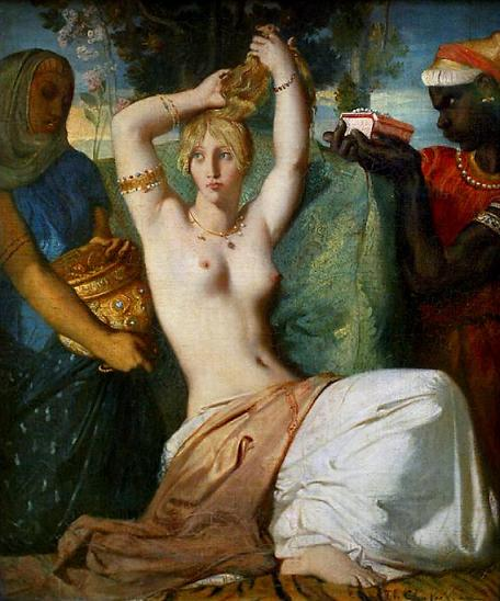 Esther Painting - 'La Toilette d'Esther' by Theodore Chasseriau, 1841
