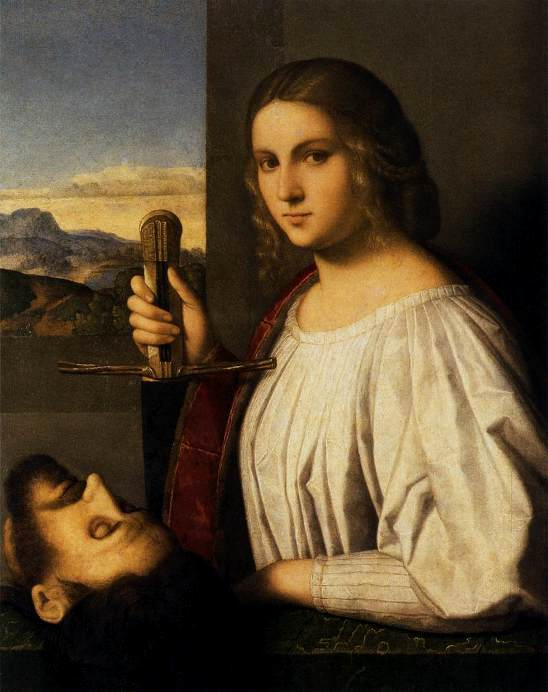 Judith in the Bible, paintings, CATENA, Vincenzo (b. ca. 1480, Venezia, d. 1531, Venezia) Judith 1520-25 Oil on panel, 82 x 65 cm Fondazione Querini Szampalia, Venice The young woman tenacious chastity is defended by a huge sword. --- Keywords: -------------- Author: CATENA, Vincenzo Title: Judith Time-line: 1501-1550 School: Italian