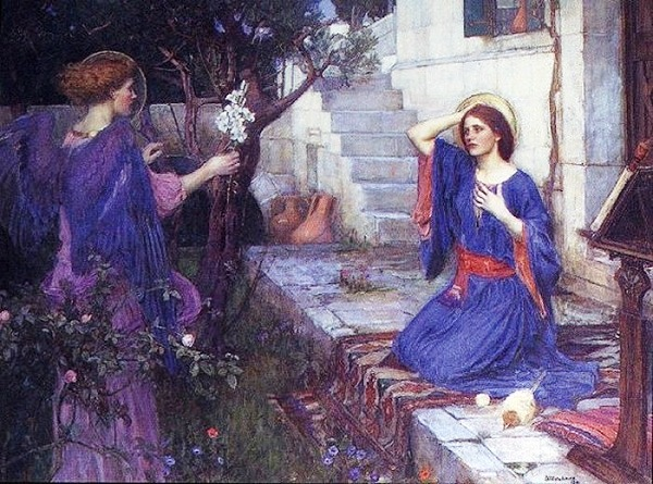 Angel paintings: Painting of the Angel Gabriel and Mary, by William Waterhouse