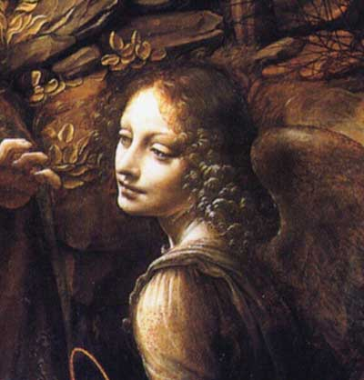 Angel paintings: Leonardo da Vinci, detail from Madonna of the Rocks showing the angel guarding Mary and the child Jesus