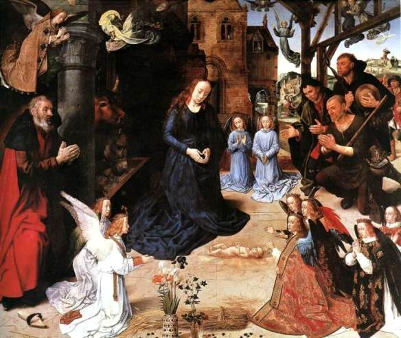 Angel paintings: The Adoration of the Shepherds, Hugo van der Goes