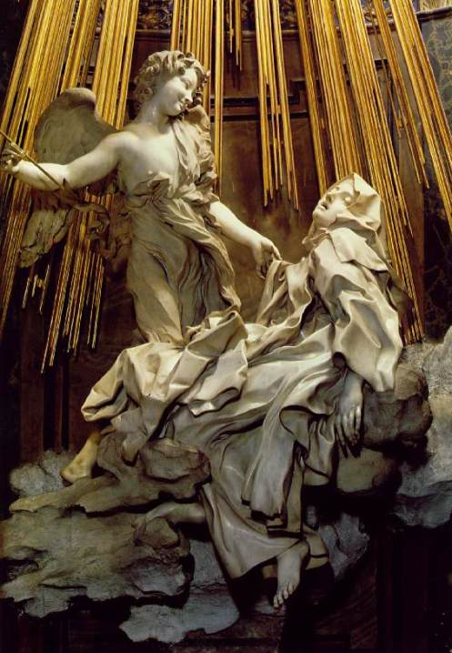 Angel paintings: Bernini, The Ecstasy of St. Teresa of Avila, Rome, marble sculpture with angel and reclining figure of St Teresa