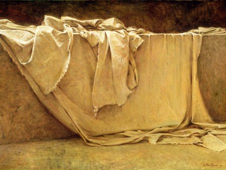 Burial clothes in the empty tomb of Jesus of Nazareth