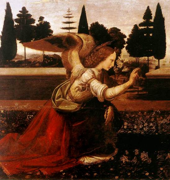 Angel paintings: The Annunciation, Leonardo da Vinci, detail of the Angel