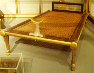 Reconstruction of an ancient Egyptian bed
