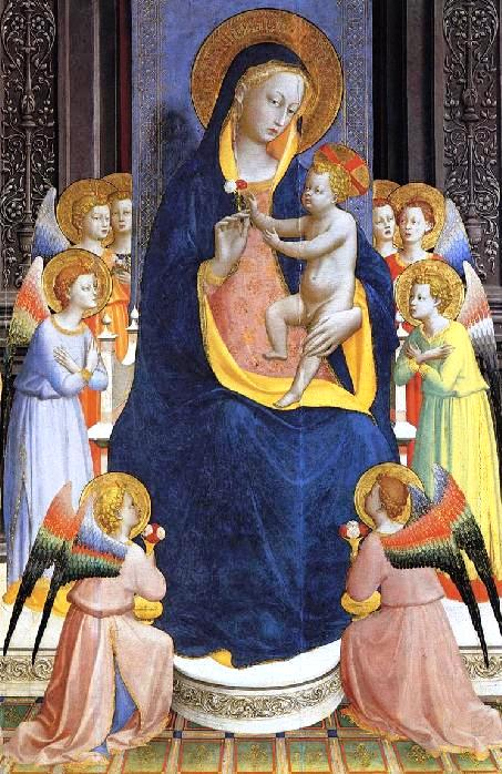 Angel paintings: Painting of the Madonna with angels, by Fra Angelico