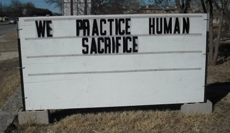 Human sacrifice in the Bible: light-hearted notice board outside a US church
