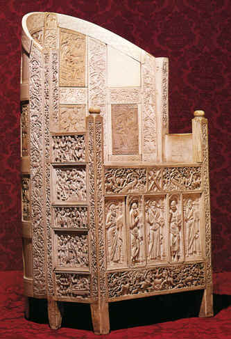 Bible Kings: Archaeologists found 12,000 pieces of carved ivory in the burned ruins of the palace at Samaria, which is why it was called the 'Ivory House'. The throne above, though from a later period, shows how ivory plaques were used to decorate furniture and walls in ancient palaces