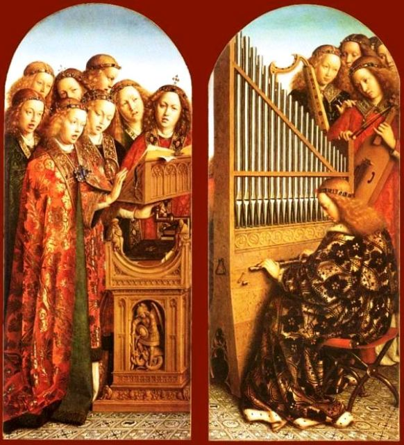 Angel paintings: 'Angels Singing and Playing', painting by Hubert and Jan Van Eyck