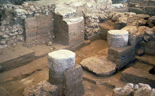 Excavated Philistine temple at Tel Qasile: note two pillars, as in the story of Samson's death