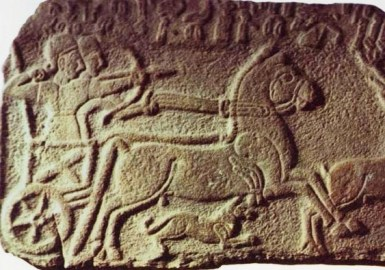 Bible Warriors, soldiers: Ahab. Ancient wall relief. The battle chariots of Ahab were similar, carrying an archer and a driver