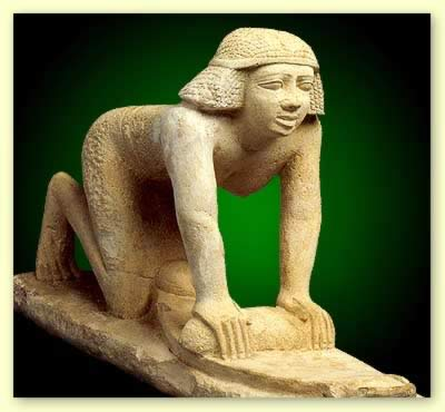 WOMEN IN THE BIBLE :HAGAR: EGYPTIAN STATUETTE, WOMAN WORKING
