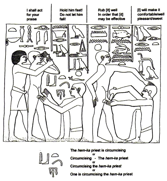 Circumcision in the Bible: drawing of the stone engraving of circumcision in ancient Egypt, Nunn