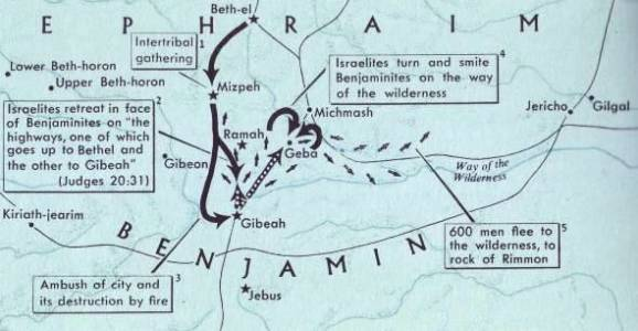 Map of Jebus and Gibeah; Jebus would later become the city of Jerusalem