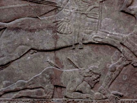Battle scene from the northwest palace at Nimrud, showing warrior pierced by arrows, and chariot horses