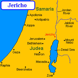 Bible Soldiers & Warriors: Map of Jericho and the surrounding country, showing Judea and Samaria
