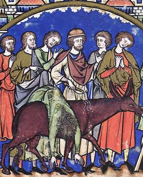 The Levite carries his concubine home, medieval manuscript