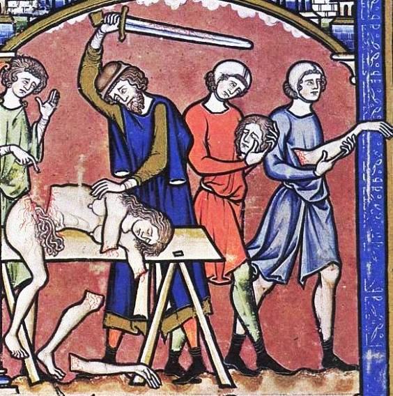 The Levite divides his concubine's body into twelve pieces, medieval manuscript