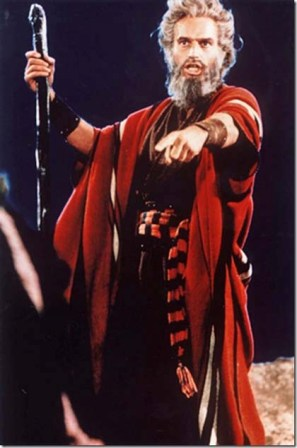 Moses and the Ten Plagues of Egypt. Moses: Charlton Heston as Moses in the movie 'The Ten Commandments'