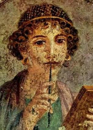 Bible Heroines: Joanna, disciple of Jesus. Fresco from Pompeii, head and shoulders of a well-born woman holding a stylus and writing board