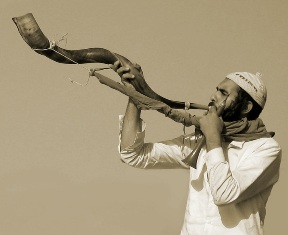 A shofar, the ancient instrument used to summon the tribes of Israel
