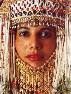 Esther: Middle Eastern woman wearing wedding headdress