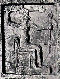 Ancient Ugaritic icon of Anat; note the womanly figure but also the weapons of war
