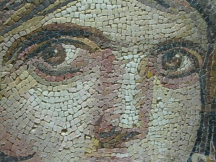 Maacah and her children Tamar & Absalom. Mosaic of a young woman's face