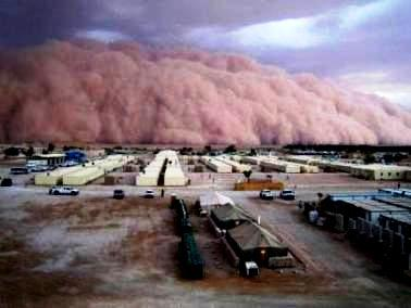 Moses and the Ten Plagues of Egypt. A dust storm rolls in from the desert, completely obliterating the land and sky and making it difficult to breath