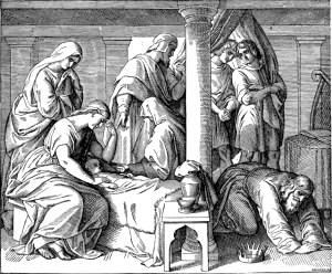 Bathsheba Mourns her Dead Baby; woodcut