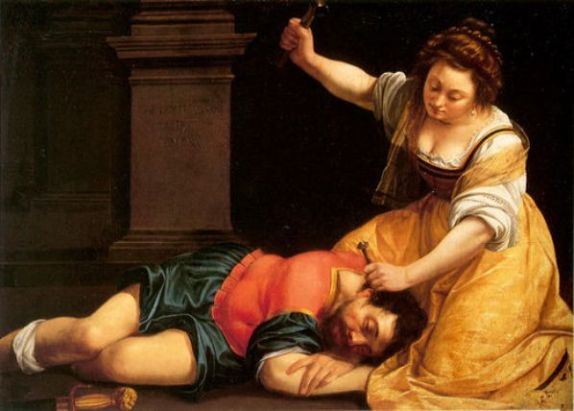 Bible Murders: Jael and Sisera, Artemisia Gentileschi, Jael hammers the tent peg into Sisera's skull