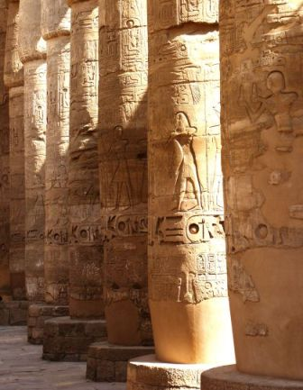 The names of towns captured during Shishak's campaign appear in a list enscribed on the south entrance to the sanctuary of Amon in Karnak (above)